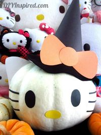 DIY Halloween: DIY Hello Kitty Pumpkin: DIY Halloween Decor Check out our sexy spooky sale and get 25% off. www.shelbymason.com #bootights #sexyspooky