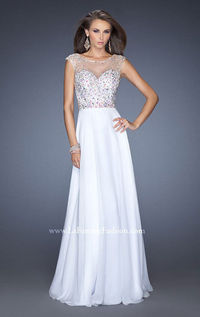 Open Back White Beaded Prom Gown 19858 by La Femme
