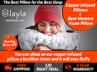 Find Layla Sleep's copper infused pillows for a peaceful sleep at night. Our pillows are fluffy and give a very comfortable sleep. Get free shipping, 120 nights trial and 5 years warranty on our pillows. https://laylasleep.com/product/layla-pillow/
