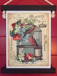 Birds in Cage Wall Hanging - French Country Vintage Style (small) $35.00