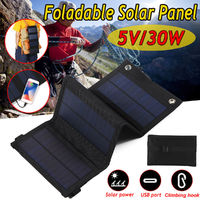 30W 5V Foldable Sunpower Solar Panel Charger Solar Power Bank USB Backpack Camping Hiking
