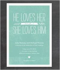 Aqua love invitation- looks chalkboard-y which I LOVE $2.34/100