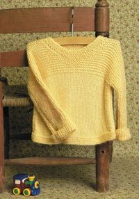 Toddler Sweater Pattern. Easy, quick knit, however the size was weird even though the gauge was correct. The sleeves were about 2 inches too long and the body was about 2 inches too short. Will make again with the above corrections.
