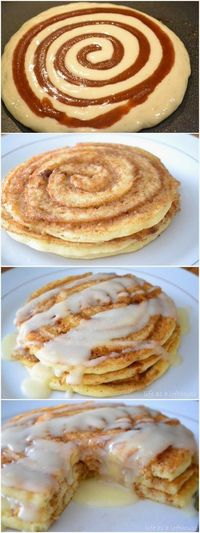 Cinnamon Roll Pancakes s in a row because they're SO good!
