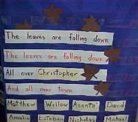 "Leaf poem, love the repetition of sight word ""the"" and names of kids! Great way to use a pocket chart and make the poem personal for the kids! Don't forget to have some leaves for the others to drop around the student who is named."