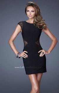 Black La Femme 20577 Jersey Bateau Cocktail Homecoming Dress