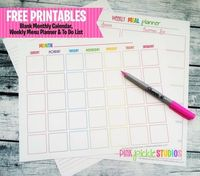 Free Printable Menu Planner, To do List & Monthly Calendar from Pink Pickle Studios