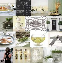 Magnolias, bundt cake and punch meet St. Germain, vintage linen, and zinc containers. The black accent adds something unexpected to the otherwise simple garden palette of green and white, without being overpowering.