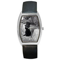 """Artistic Black and White Phote of """"Kitten in Hat"""" on a Barrel Watch w / Leather Band $32.00"""