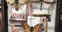 beautiful vintage inspired Tim Holtz bugs bees butterflies stamps and dies art collage stamping