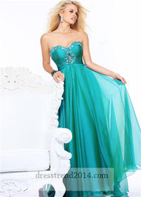 Cheap Beaded Keyhole Teal Long Prom Dresses 2014