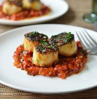 Grilled Scallops with Tomato & Red Pepper Chutney. Substitution: Use clarified butter/ghee instead of whole butter.
