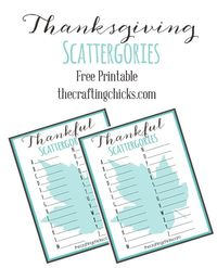 it was fun to see what everyone was thankful for...from A to Z! Click below to get your own Thanksgiving Thankful Scattergories Free Printable!