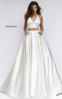 Halter 50053 A Line Two Piece Cheap Sherri Hill Prom Dress Ivory