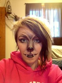 werewolf makeup, good job on the nose - I used this as inspiration for my own werewolf look. Mine wasn't as clean with the lines...