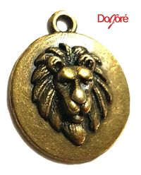 CLEARANCE Pack of 20 Round Bronze Lion Head Horoscope Charms. 20mm Leo Zodiac Round Pendants £5.99