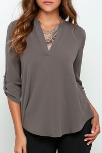 Rolled Sleeve Solid Color Blouse GRAY: I like how this is plain, not casual but not formal. It's versatile