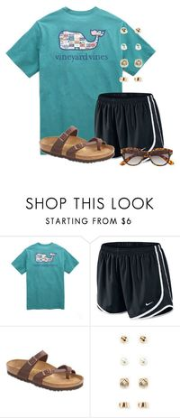 """Watching the Olympics"" by flroasburn � liked on Polyvore featuring Vineyard Vines, NIKE, Birkenstock, Forever 21 and H&M"