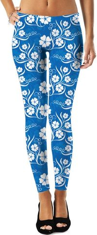 Blue White Flower Leggings $35.95
