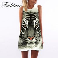 New Woman Dress 2017 Fashion O-neck Sleeveless Women Casual Loose Clothing Floral Tiger Pattern Mini Dress $5.03
