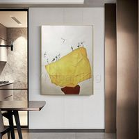 Framed wall art Abstract acrylic paintings on canvas birds art Gold stone art Original extra Large white painting Wall Pictures $175.29