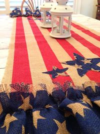 SOLD Patriotic Table Runner Burlap 4th of July by LollysCubbyHole
