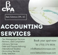 We are knowledgeable and up to date on the tax laws and can make sense of your receipts, bills and notices. Beta Solutions CPA provides Entity selection, Tax Accountant, Tax Preparation Services, International Taxation, Advisory Services and other service...