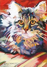 "Karen Mathison Smidt: Wide-Eyed Wonder Kitty. - post-impressionist style colorist painting of a tabby cat kitten 5 x 7 inches oil on Gessobord'""'"