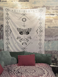Moth Moon Tapestry Wall Hanging Black and white Meditation Yoga Grunge Hippie $35.00