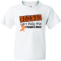 Leukemia Cancer Can't Bully Me...I Fought and Won Survivor Youth T-Shirt featuring an eye-catching design with an awareness ribbon