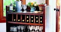 Old dresser turned into storage bar diy-home...perfect for a patio, or indoor party space!