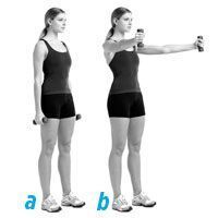 15-minute arm workout #1 Hold a dumbbell in each hand and stand with your feet shoulder-width apart, arms at your sides, palms in (a). With arms straight but not locked, raise the weights diagonally in front of you, so that your arms form a V shap...