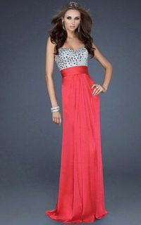 Chiffon Strapless Prom Dress on Sale by La Femme 17909 Red