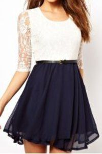 Ladylike U Neck Lace Splicing Ruffled Half Sleeve Dress For Women