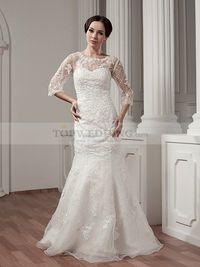 MERMAID THREE QUARTERS SLEEVED WEDDING DRESS WITH APPLIQUES AND BEADING