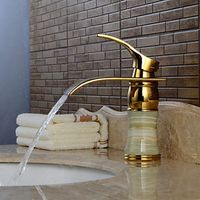 One Hole Centerset Ti-PVD Waterfall Bathroom Sink Faucet with Single Handle