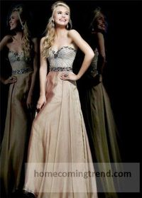 Long Nude Beaded Cheap Prom Gown 2014
