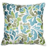 great pillow, aqua, green, and grey LOVE this fabric. Possible pillow reupholster?