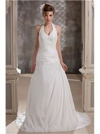 Pretty A-line Halter Floor-length Chapel Train Lace Embellishing Daria's Wedding Dress