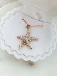 Gold CZ Starfish Delicate Necklace , Starfish Charm, Gold Star Necklace $21.99