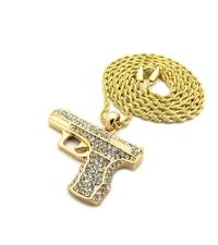 """MEN'S GOLD PLATED GUN PENDANT IRON ROPE CHAIN 3MM 30"""" HIP HOP BLING NECKLACE Special Features: Gold-plated chain with clear stones Dimensions: Chain Length : 30 inches, Width : 3mm"""
