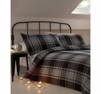 Bhs Charcoal Weston Brushed Cotton Bedding Set, Cosy up with a beautifully soft brushed cotton bedding set. This charcoal check design will brighten up any bedroom and keep you warm during cold winter months. Made of 100% brushed cotton and woven i ht...