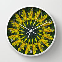 yellow and green floral kaleidoscope wall clock.