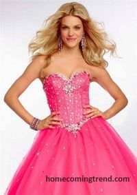 Crystal Beaded Strapless Ball Gown Prom Dresses 2015