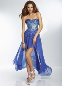 Elegant Sequined Hi-lo Sweetheart Royal Blue Party Dress
