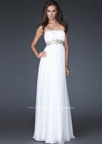 White Long Strapless 15986 Leaf Sequined Evening Gown Sale