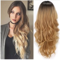 Fashion Long Curly Blonde Wigs Gradient Synthetic Fiber Wig $38.99