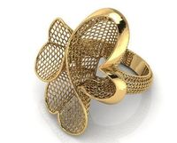 Flower Heart Ring, Net Ring, Web Ring, Large Ring, Big Rig, Floral ring,unique Engagement ring, Flower ring, Gold gift Christmas $1999.00