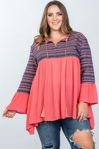 Ladies fashion plus size boho coral tassel tie tribal bell sleeves top $29.99