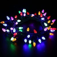 [UL Listed]Outdoor LED String Lights Weatherproof Strawberry Lights,18 feet 50 LEDs Colored Christmas Light Strands C3 Bulbs for Patio Garden Holiday Indoor Home Decorating $13.89